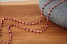 July Birthstone Ruby Long Necklace Gold Filled by YaniaCreations, $120.00