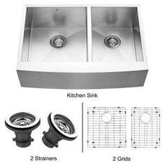Vigo All-in-One Farmhouse Stainless Steel 33x22.25x10 0-Hole Double Bowl Kitchen Sink-VGR3320BLK1 at The Home Depot