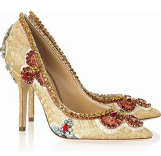 Dolce & Gabbana Embroidered Pumps - champagne colored, stones instead of beading, pointed toe