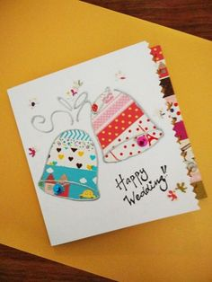 Use pretty decorative tapes to make a wedding card
