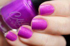 Colors by llarowe Summer 2016 Cremes Crellies and Shimmers - Lotus is a bright orchid pink crelly with an insane amount of shimmer. This polish glows! Swatch by @tanya_wish on Instagram.
