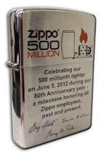 Zippo Owner and CEO George Duke recently presented employees with limited edition employee-only Zippo lighter commemorating out our 80th Anniversary and our 500 Millionth milestone. The special limited edition had a one-of-a-kind engraved bottom stamp and the employee's name engraved on the reverse side. You can't buy these, so you'll have to marry into the family of a Zippo employee and inherit one.