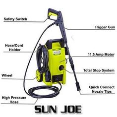 Sun Joe 1450 PSI GPM Electric Pressure Washer is one of the best products in the market. Diy Pressure Washing, Best Pressure Washer, Pressure Pot, Pressure Washers, Filter Design, Safety Switch, Electric, Sun, Elegant