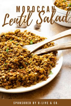 One of my goals for the New Year is to share more Moroccan family recipes, starting with this Moroccan Lentil Salad made with O-Live & Co. Organic olive oil. #sponsored #moroccanlentils #lentilsalad #moroccanfood Easy Salads, Healthy Salad Recipes, Easy Snacks, Lunch Recipes, Healthy Meals, Whole Food Recipes, Sin Gluten, Gluten Free, Family Recipes