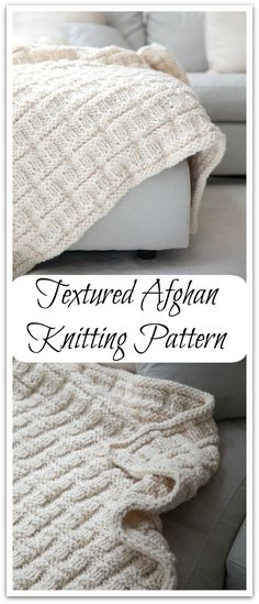 This is a textured afghan knitting pattern made with Lion Brand®️️ Wool-Ease®️️ Thick & Quick®️️ yarn. Digital PDF download #ad #affiliate #knitting #pattern