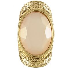 Miso Large Facet Stone Ring ($2.62) ❤ liked on Polyvore featuring jewelry, rings, accessories, pink ring and pink jewelry