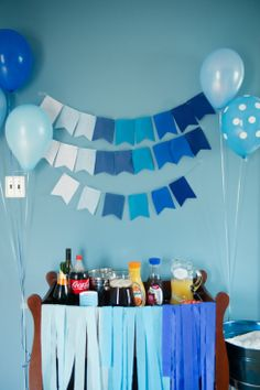 ombre blue first birthday party, drinks and bar, balloons and bunting, pajamas and pancakes