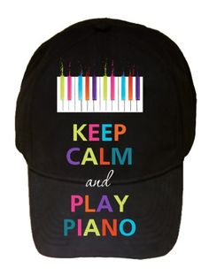 Keep Calm and Play Piano Colorful Keys 100% Cotton Black Adjustable Cap Hat.