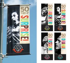 Ideas for Banner Design . 32 Awesome Ideas for Banner Design . Pole Banners, Vinyl Banners, School Signage, Vinyl Printer, Banner Design Inspiration, Work Inspiration, Design Ideas, Street Banners, Anniversary Logo