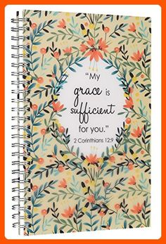"""""""My Grace is Sufficient"""" Printed PVC Cover Wirebound Journal / Notebook - 2 Corinthians 12:9 - Refine your workspace (*Amazon Partner-Link)"""