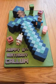 Minecraft diamond sword cake with sugar Steve, Creeper, pig, wolf and TNT