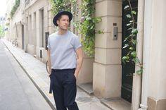 Outfit Chemise-T Rayée - Pantalon Laine Bleu marine - Ile Saint-Louis - Paris / SAUDADE DE PARIS /