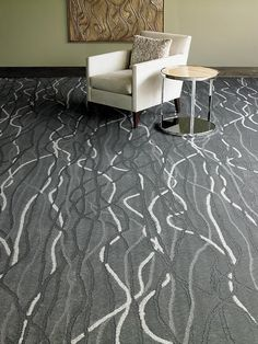 Interesting grey and white patterned carpet flooring - Available at Express Flooring Deer Valley North Phoenix, Arizona. Flooring, Carpet Flooring, Stair Runner Carpet, Floor Tile Design, Buying Carpet, Carpet Remnants, Rugs On Carpet, Hotel Carpet, Diy Carpet