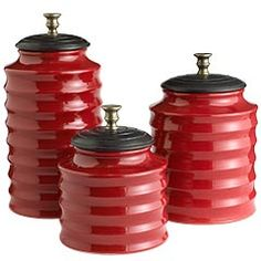 Attrayant Red Ceramic Canisters With Mango Wood Lids For The Kitchen!