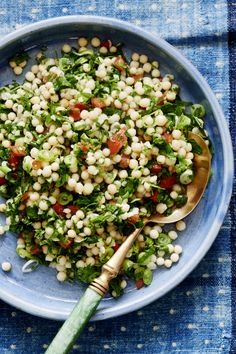 Our vegan recipe of the day is . Pearl Couscous Recipes, Couscous Salad Recipes, Pearl Couscous Salad, Veggie Recipes, Vegetarian Recipes, Healthy Recipes, Tabouli Recipe, Palestinian Food, Lebanese Recipes
