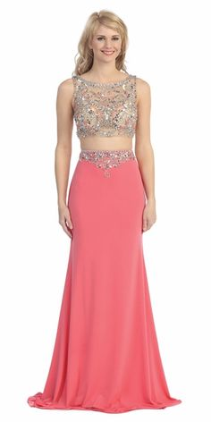 Floor Length Two Piece Prom Gown Coral #discountdressshop #twopiecegown #promgown #coraldress