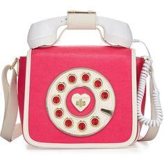 Betsey Johnson Betsey's Hotline Phone Crossbody Bag ($48) ❤ liked on Polyvore featuring bags, handbags, shoulder bags, fuschia, betsey johnson handbags, metallic crossbody, pink purse, crossbody purse and pink shoulder bag