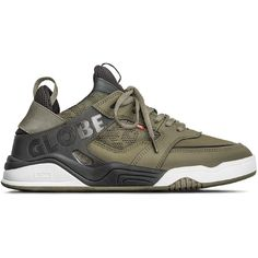 """The Tilt Evo in Olive/Black is a evolution of our heritage collection progressing fit, form and function made of action nubuck/synthetic suede/synthetic nubuck/lycra/mesh/TPU. It features a full CMeva midsole with moulded TPU outsole shank for support and structural integrity. It has a moulded TPU Globe strap for support with a Globe's step-in sock tongue construction. INNER SOCK CONSTRUCTION: + COMFORT, FIT, SUPPORT Our intergrated tongue and collar design creates a """"step in"""" effect... Collar Designs, Globe, Socks, Amazon, Sneakers, Fitness, Tilt, Integrity, Shank"""