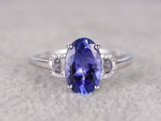 2.35ctw Oval Tanzanite Engagement ring,Diamond Promise Ring,14K White Gold,Bridal Ring,wedding band,Blue 5A Gem Stone ring,Prong set by popRing on Etsy