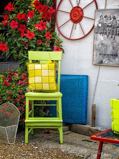 Chair and Flowers Broad Ripple Village Indianapolis, Indiana