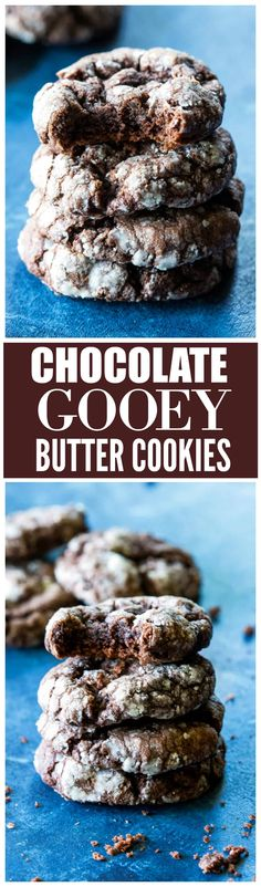 Chocolate Ooey Gooey Butter Cookies - so easy and so good. Chocolate Ooey Gooey Butter Cookies - so easy and so good. Gooey Cake, Gooey Butter Cookies, Yummy Cookies, Yummy Treats, Sweet Treats, Bar Cookies, Brownie Cookies, Cookie Desserts, Just Desserts