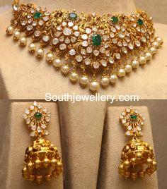 Flat Diamond Peacock Choker and Jhumkas
