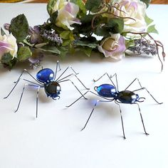 Handmade Hanging Spider Two Black and Blue by SpiderwoodHollow, $24.00
