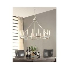 Chandelier Brushed Nickel Dining Room Lighting Decor Foyer Entryway Pendant #Modern