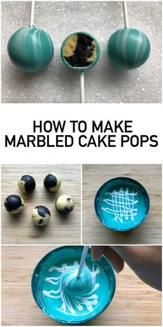 How to Make Marble Cake Pops (Inside AND Out!) How to Make Marble Cake Pops (Inside AND Out!) Learn to make show-stopping marble cake pops with a trendy design inside and out! Cake pop expert Kris Galicia Brown's tutorial makes it easy. Diy Dessert, Dessert Decoration, Dessert Tables, Marble Cake, Marble Cupcakes, Cake Cookies, Cupcake Cakes, Mini Cakes, Cupcake Ideas