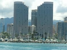 View of Hawaii Prince Hotel from end of Ala Moana Park Walk