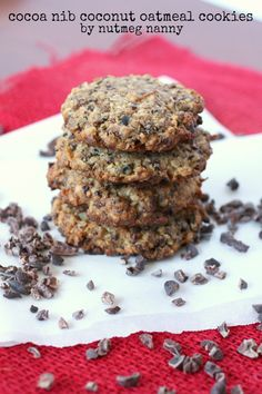 Cocoa Nib Coconut Oatmeal Cookies from Nutmeg Nanny Cacao Recipes, Chocolate Recipes, Oatmeal Coconut Cookies, Cocoa Cookies, Just Desserts, Delicious Desserts, Yummy Food, Paleo Dessert, Cake