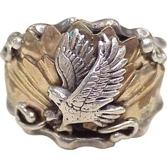 Vintage Native American EAGLE Ring Sterling Silver & Gold Over Copper by Jack Bly circa 1970's