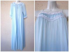 1980s Long NIGHTGOWN & PEIGNOIR SET. Miss Elaine Nightgown and