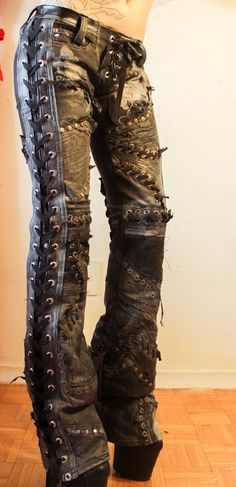 Holy crap these are perfect! Leather beat pants for rockin roll punk goth queen of the angels