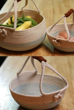 These handmade rope baskets are great for gathering a small harvest or storing produce on the counter. This two basket set includes custom color choices Would have to add reinforcement. Round Basket Bag with Leather Handles - Fashion Trendy This Pin was Sisal, Rope Basket, Basket Weaving, Easy Craft Projects, Kids Crafts, Diy Projects Using Rope, Craft Ideas, Chat Crochet, Harvest Basket