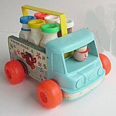 Vintage Fisher Price Milk Wagon Wooden Pull Toy 1960's. Original