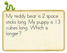 story problems to solve - hands on and explain Measurement Kindergarten, Measurement Activities, Math Measurement, Kindergarten Math, Number Activities, Writer Workshop, Reading Workshop, Fun Math, Math Math