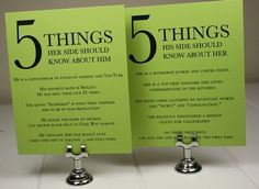 5 things you should know about the bride / groom. Cute idea for reception tables. wedding-ideas