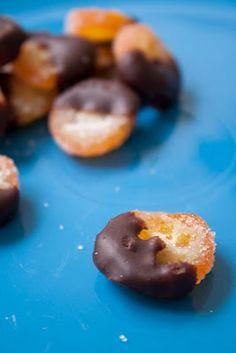 Candied kumquats dipped in dark chocolate ganache...!! Yum. // photo Megan Whittaker