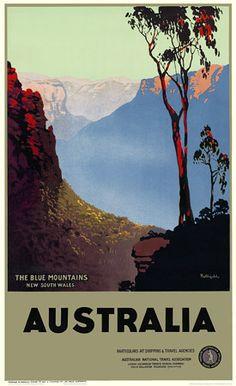 The blue mountains australia tourism poster, australia travel, illustration Room Posters, Poster Wall, Poster Prints, Framed Prints, Blue Mountains Australia, Posters Australia, Blue Canvas Art, Australian Vintage, Tourism Poster