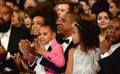 Solange, Blue Ivy, and Jay Z after Beyoncé's performance at The 59th GRAMMY Awards at STAPLES Center on February 12, 2017 in Los Angeles, California.