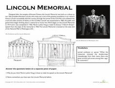 Worksheets: Lincoln Memorial Facts