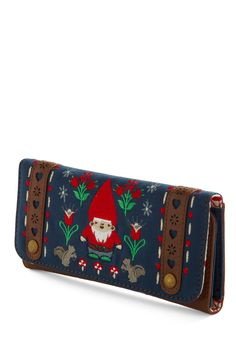 Gnome Expense Spared Wallet by Loungefly - Blue, Multi, Red, Brown, Grey, White, Green, Novelty Print, Embroidery, Mushrooms, Fairytale