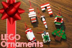 Fun and easy LEGO Christmas Ornaments.  Use your imagination to make all kinds of different ornaments.