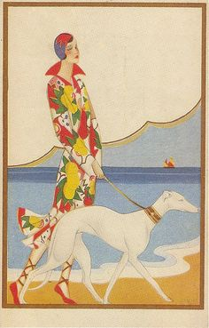 Art Deco Postcard, 1920s. (I just really need a greyhound)