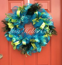 Peacock teal & lime green deco mesh wreath with feathers