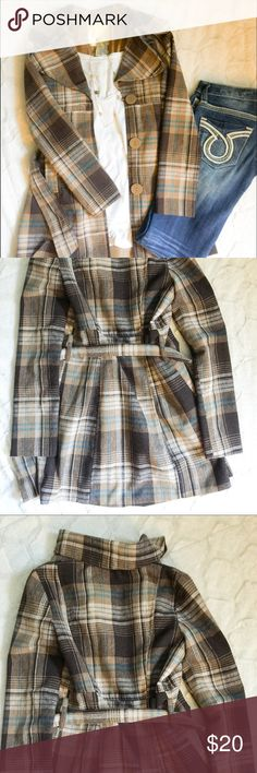 Brown plaid trench from Wet Seal Super cute trench nice to wear on a cool fall day. Wet Seal Jackets & Coats Trench Coats