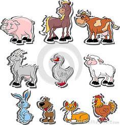 Animales domésticos de la historieta, viviendo en una granja