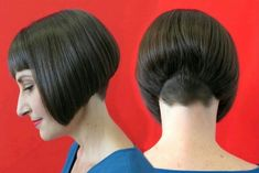 We love a good looking short Inverted bob like this one Stacked Bob Hairstyles, Thin Hair Haircuts, Undercut Hairstyles, Bob Haircuts, Shaved Hair Cuts, Shaved Nape, Shaved Bob, Short Hair Back View, Lady Bob