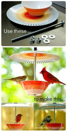 Bird feeder, has shelter for seeds so you can have it out in the winter and rain.